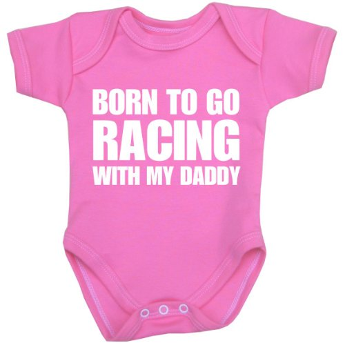 BabyPrem Baby Born to go Racing with My Daddy Bodysuit NB-12 mth Pink 6-9