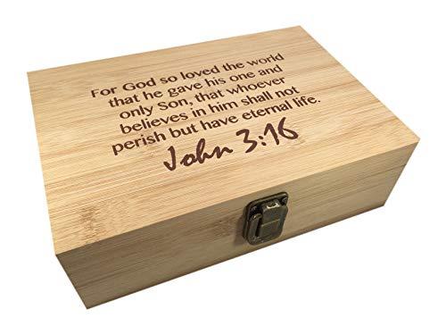 Bamboo Wood Hinged Cigar Storage Stash Box -8.5 x 6 x 2.5 Inches (John 3:16)