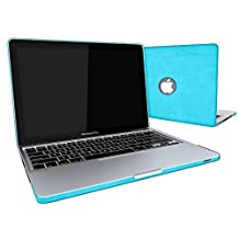 """SlickBlue - Hard Shell Snap-on Leatherette Case with Keyboard Cover for MacBook Pro 13"""" (Model : A1278) - Leatherette Turquoise Blue"""