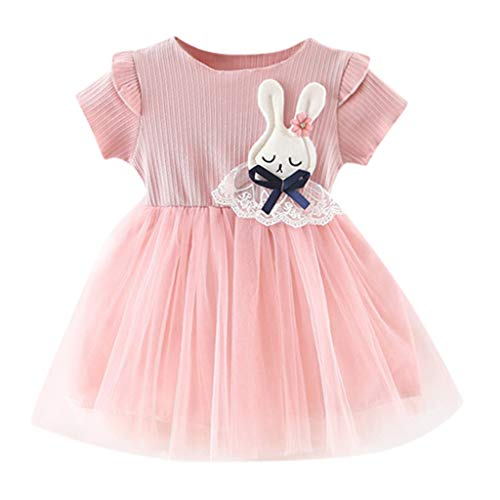 NUWFOR Toddler Baby Girls Ruched Patchwork Rabbit Tulle Skirt Party Princess Dresses (Pink,18-24 ()