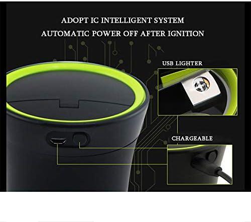 青色LEDライトと蓋、USB充電カーカップホルダー、ホーム車の車両トラックOfficeと車の灰皿無煙ポータブル自動車のシガーライター、