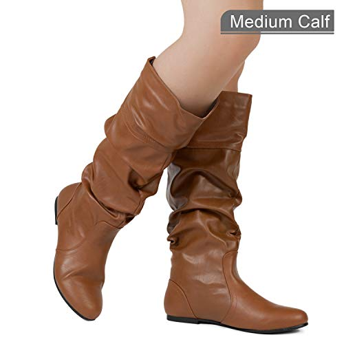 RF ROOM OF FASHION Medium Calf Slouchy Knee High Boot (Tan PU Size 10)