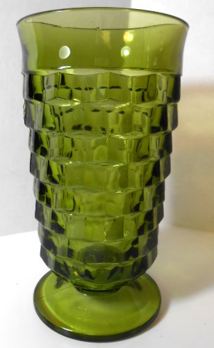 Green Indiana Whitehall or Fostoria Footed Drinking Glass in Cubist Design Iced Tea Glass
