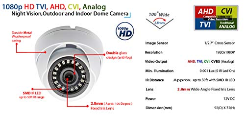 Evertech 1080P Full HD Dome CCTV Security Camera Indoor Outdoor White Metal Casing Night Vision 50ft 4in1-AHD, TVI, CVI, Analog Compatible