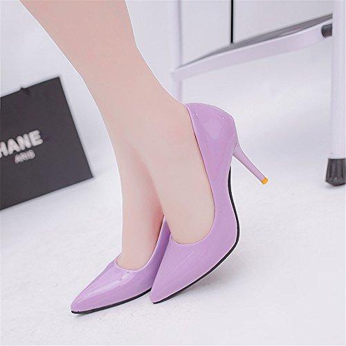 LIVY El nuevo club nocturno atractivo de alta con escogen los zapatos finos con la boca baja señaló modelos de zapatos de tacón alto de explosión Púrpura