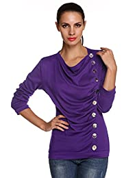 ACEVOG Women Casual Cowl Neck Button Down Long Sleeve Tunic Tops