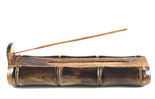 Bamboo Shape Incense Burner. Handmade Large Incense Holder With Storage Compartment. Premium Organic Wooden Ash Catcher Incense Holders. Brown Incense Holders For Sticks. Eco Friendly Holidays Gift. (Incense Cute Holder)
