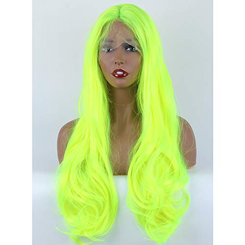 Beibingyang Fishion Neon Yellow Wig Long Wavy Green Synthetic Lace Wigs Glueless Heat Resistant Lace Front Wigs for Women 24inch]()