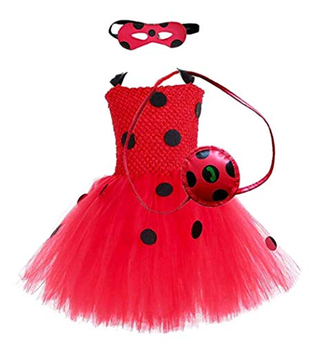 Beetle Halloween Costumes (Girls Ladybug Tutu Dress Tulle Tutu Skirt, Ladybug Costume for Halloween Role Play, Child Little Beetle Dress with Eye Mask, Little Bag (M,)