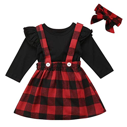 Newborn Baby Girls Christmas Outfits Deer Applique Check Long Sleeve T-Shirt Tops+Plaid Long Pants+Stocking+Headband (6-12 Months, Suspender Skirts Set)]()