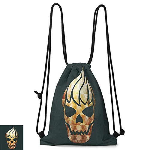 Drawstring backpack Modern Gothic Skull with Fractal Effects in Fire Evil Halloween Concept W14