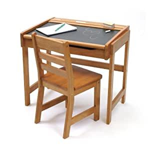 Lipper International Child's Chalkboard Desk and Chair Set, Pecan