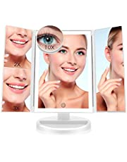 FASCINATE Espejo Maquillaje con Luz,Tríptica Aumentos 10x, 3X, 2X,1x Magnetismo Extraíble Espejo 10 Aumentos Rotación Ajustable de 180° Espejo de Maquillaje 36 Leds Carga con USB o Batería