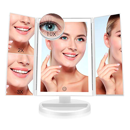 Makeup Vanity Mirror with 36 LED Lights, Lighted Makeup Mirror with 10X 3X 2X 1X Magnification, Batteries and USB Powered, 180 Rotation Portable High-Definition Cosmetic Mirror White