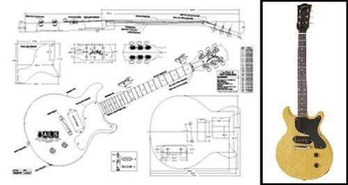 Plan of Gibson Les Paul Jr. Double-Cutaway Electric Guitar - Full Scale Print