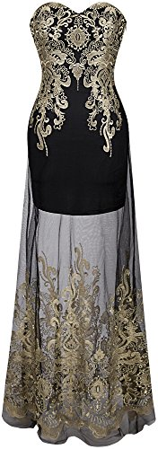 Angel-fashions Women's Sweetheart Floral Embroidery Transparent Long Cocktail Dress XLarge Black