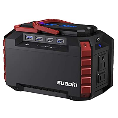 SUAOKI Portable Power Station 150Wh Quiet Gas Free Camping Generator QC3.0 UPS Lithium Power Supply Dual 110V AC Outlet, 4 DC Ports, 4 USB Ports, LED Flashlights Camping Travel CPAP Emergency