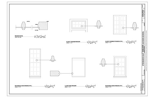 historic pictoric Blueprint Diagram Window Details - Sheldon Jackson College, Stevenson Hall, Baranof Island, Sitka, Sitka Borough, AK 24in x 16in Baranof Island