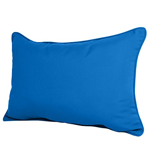 Pacific Blue Sunbrella (22W x 14D x 4H Sunbrella Outdoor LUMBAR PILLOW in Pacific Blue by Comfort Classics. Made in USA)