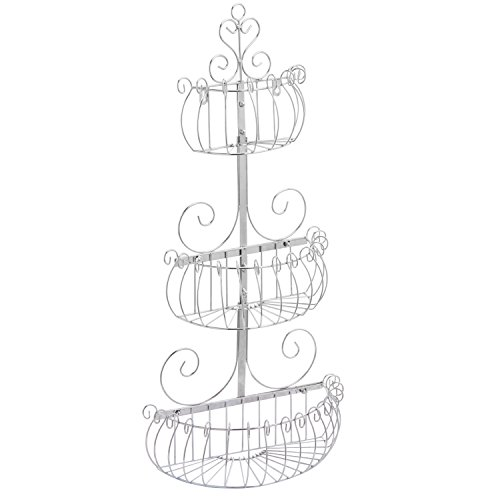 Wall Mounted Scrollwork Design Deluxe 3 Tier Silver Iron Fruit Basket / Kitchen Storage Rack - MyGift
