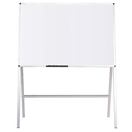 VIZ-PRO Pizarra blanca de caballete magnética, 120 x 90 cm ...