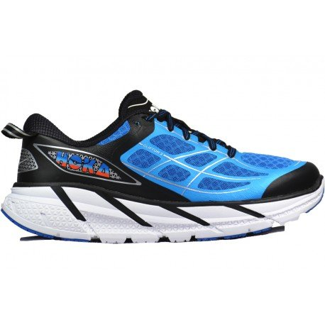 HOKA ONE ONE Men's Clifton 2 Road Running Shoe,Directoire Blue/Flame,US 11 M