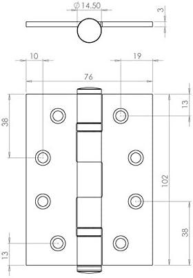 10,2 cm BB Scharnier PC