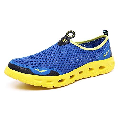 (GOOD STUDIOS Men Women Mesh Water Shoes Quick Dry Slip-on Aqua Shoes for Swimming Pool Beach Walking Running Exercise, Blue/Yellow, 10 Women/8.5 Men)