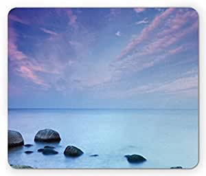 Beach Mouse Pad by Lunarable, Baltic Sea Coast Autumn Sunset View Boulders on Water Tourism Theme Picture, Standard Size Rectangle Non-Slip Rubber Mousepad, Pale Blue Lilac