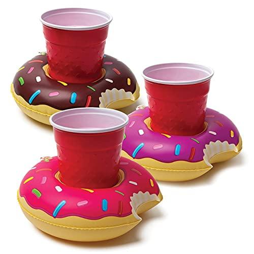 3 색 도넛 수영장 파티 비치 및 물 목욕 재미 부동 컵 받침에 대 한 풍선 음료 홀더