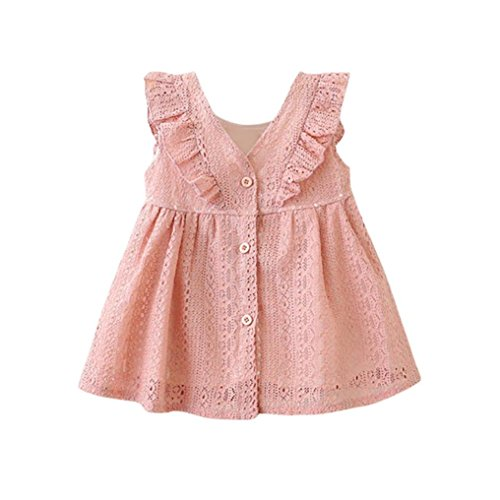 ❤️Baby Dress,Hot New Fashion 2018 Neartime Cute Beautiful Newborn Baby Girls Infant Toddle Children Lace Ruffles Princess Button Hollow Dress Clothes (Pink, 0-12M) -