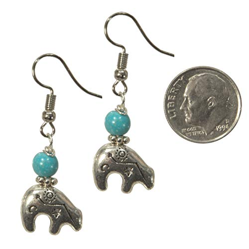 ViciBeads Earrings, Southwestern Heartline Zuni Style Bear with Turquoise Magnesite Dangle Charm Earrings Bag