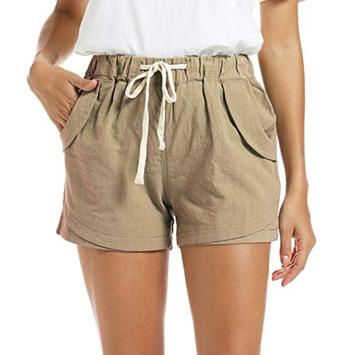 NEWFANGLE Women's Cotton Linen Causal Shorts Comfy Beach Short Drawstring Elastic Waist Shorts,Beige,M