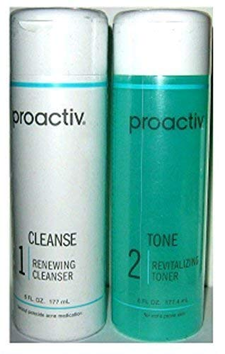 2PC 90 day SET Proactive CLEANSE + TONE ( Renewing Cleanser + Revitalizing Toner ) - 6fl oz / 177mL