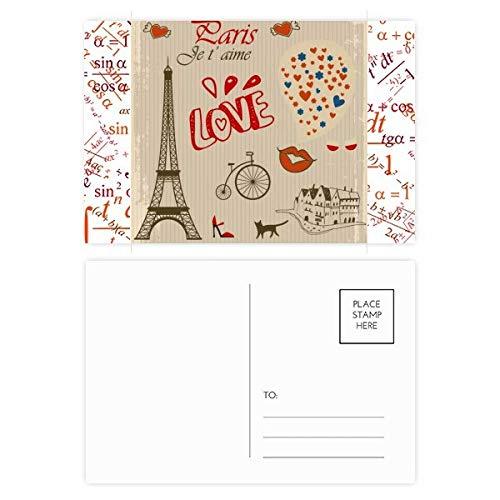 (Love Paris France Eiffel Tower Formula Postcard Set Thanks Card Mailing Side 20pcs)