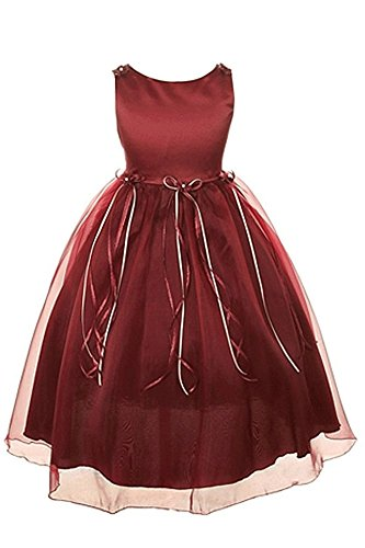 Rosebuds Ribbon Flower Girls Organza Dress Christmas Wedding Burgundy Wine 2-14 -