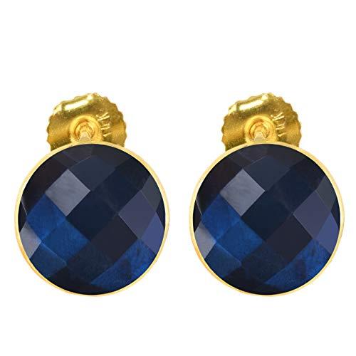 (Aurex 10.65 Carat Briolette Round Shape Natural Labradorite 14K Yellow Gold Stud Earrings for Women and Girls )
