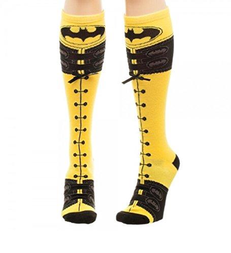 [DC Comics Batman Faux Lace Up Knee High Socks] (Batman Dress Socks)