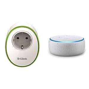 Echo Dot gris claro + D-Link DSP-W115 – Enchufe inteligente WiFi, control desde móvil o tableta mediante app gratuita mydlink, programación horaria ON/OFF, compatible Amazon Alexa y Google Home, IFTTT, blanco