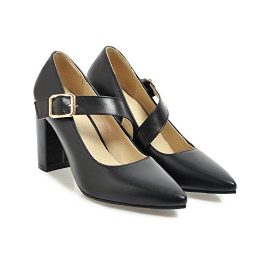 MEI&S Talon Bloc Femmes Chaussures Chaussures Bouche Peu Profonde Noir 0bJLbqqdq