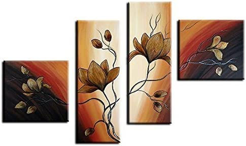 Noah Art-Modern Floral Artwork, Tulip Flower Picture 100 Hand Painted with Acrylic Canvas Stretched Flower Oil Paintings with Frame, 4 Piece Black and Gold Wall Art for Bedroom Wall Decor