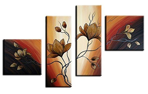 Noah Art-Modern Floral Artwork, Tulip Flower Picture 100% Hand Painted with Acrylic Canvas Stretched Flower Oil Paintings with Frame, 4 Piece Black and Gold Wall Art for Bedroom Wall Decor