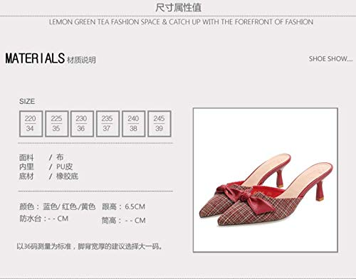 Sandals Lattice Summer Heel Tie Sexy And Pointed Temperament Slippers Shallow Bow KPHY High Thin yellow 7Cm OqOd5
