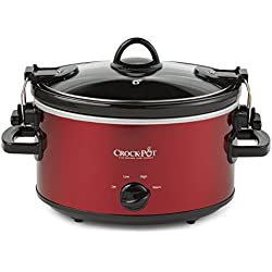 Crock-Pot 4-Quart Cook & Carry Oval Manual Slow Cooker, Red Stainless Steel
