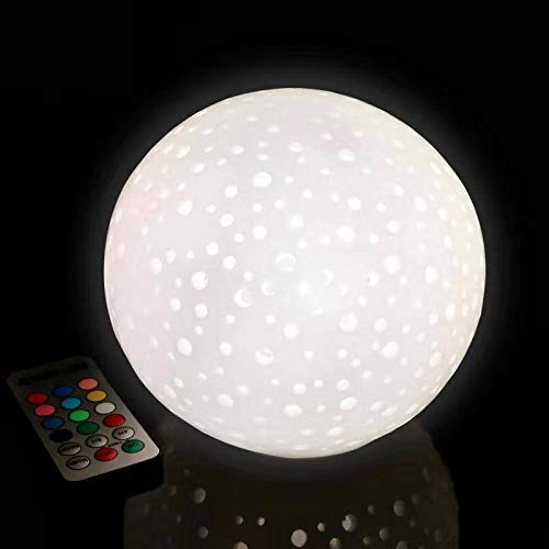 Sphere/Ball Flameless Candle with Remote Control Timer, Multi-Color Battery Powered LED Candle for Holiday Wedding Party Birthday Decoration, Pearl White Openwork Pattern (6