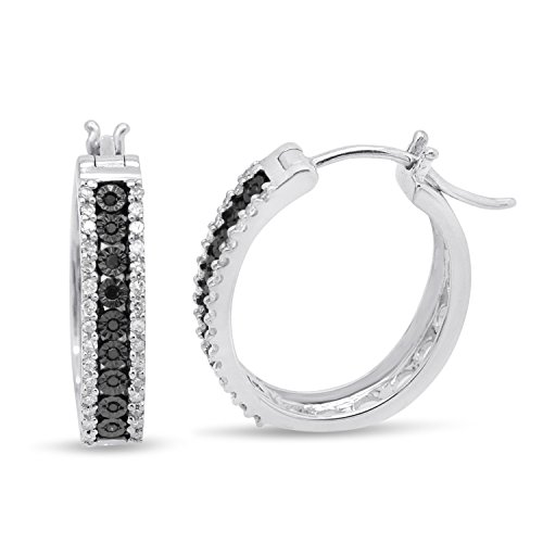 Sterling Silver Miracle plate Black & White Diamond Hoop Earrings (3/8 CTTW)
