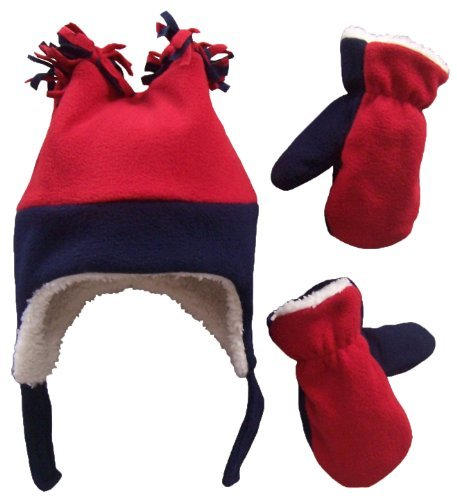 N'Ice Caps Little Boys and Baby Sherpa Lined Fleece Winter Hat and Mitten Set