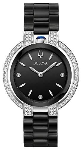Ladies' Bulova Rubaiyat Diamond Accent Black Ceramic Bracelet Watch 98R266