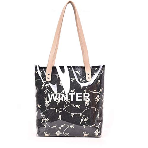 sauvage capacité nouveau sac sac à tout fourre broderie sac LANDONA coréenne de main été minimaliste transparent à noir sac grand féminine bandoulière de la xBqwO0t5w