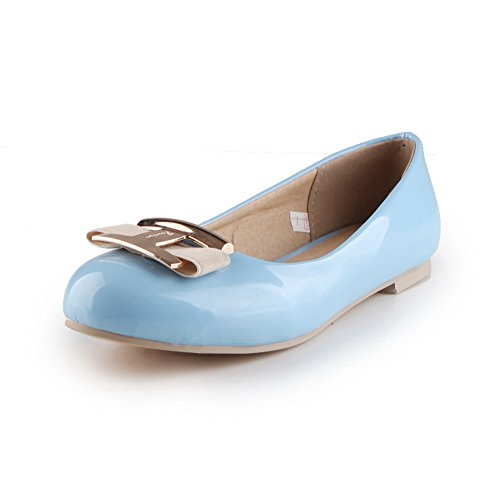 BalaMasa Womens Bows Slip-Resistant No-Closure Patent-Leather Flats Shoes LightBlue